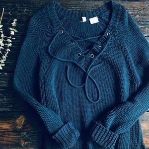 Moth Ashbury Chunky Knit Lace Up Sweater